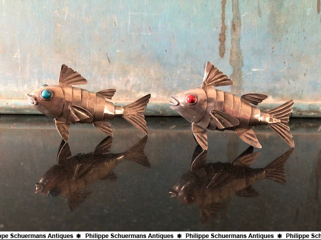 a pair of sterling silver articulated Judaica Havdalah fishes for sell