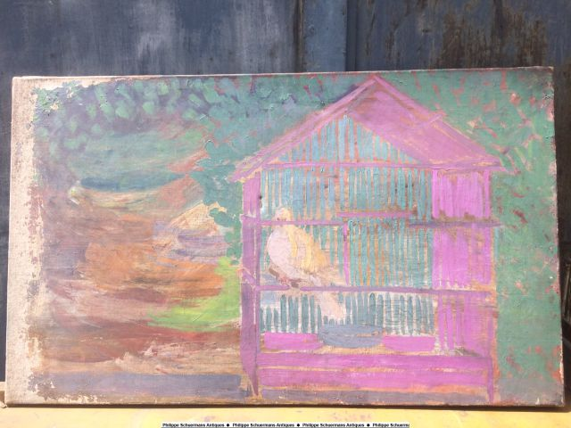 "impressionist oil on canvas representing a ""bird in his cage"" for sell"