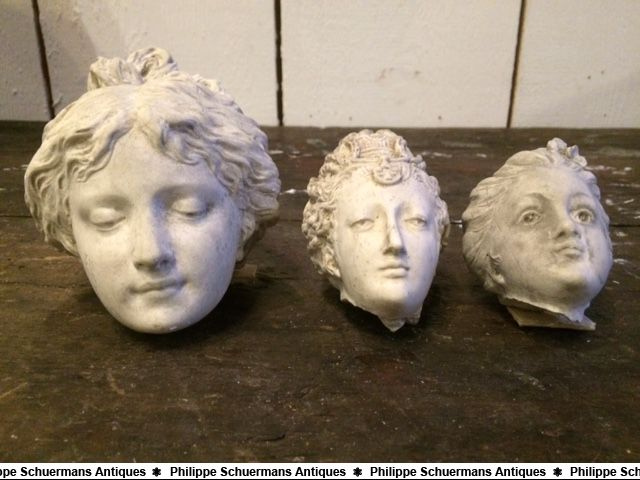 set of three (3) small plaster female heads for sell