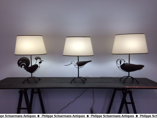 Three (3) wrought iron lamps forming a rooster, an owl, and a avocet for sell