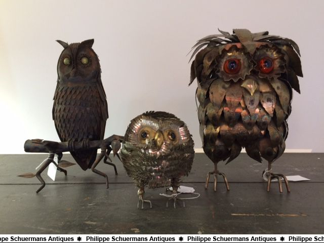 three (3) owls, one made of wrought iron , one of brass , one of white metal sheet. for sell