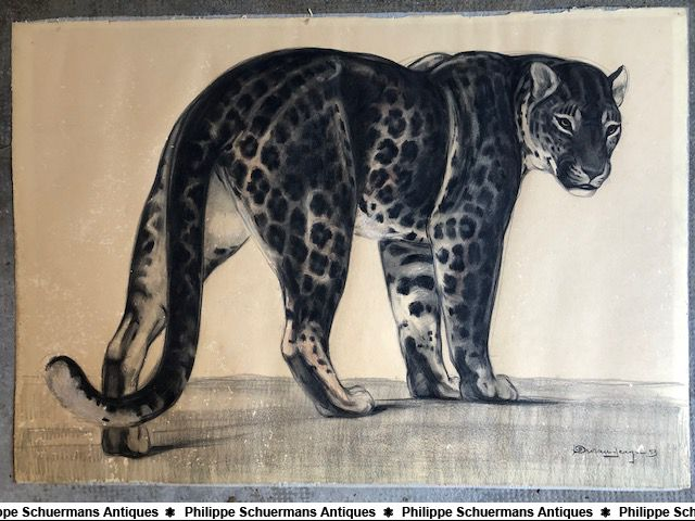 large mixed media (charcoal , drawing pencil , gouache) of a walking panther signed by Jean Durand dated 1953 for sell